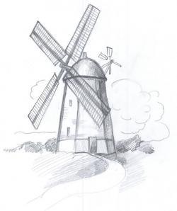 Drawn windmill pencil drawing