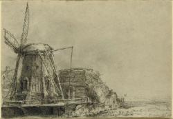 Drawn windmill rembrandt