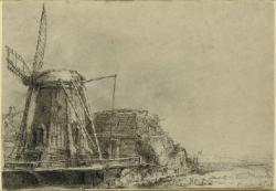 Drawn windmill rembrandt
