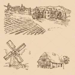Drawn windmill vector