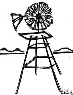 Drawn windmill windmill line