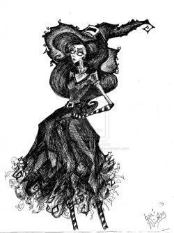 Drawn witchcraft witch costume