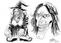 Drawn witchcraft old witch