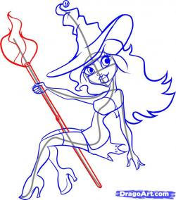 Drawn witchcraft broom drawing