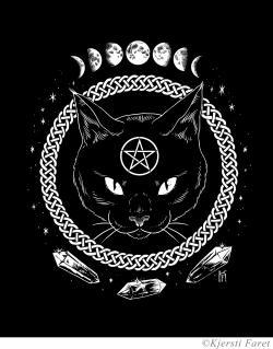 Drawn witchcraft cat