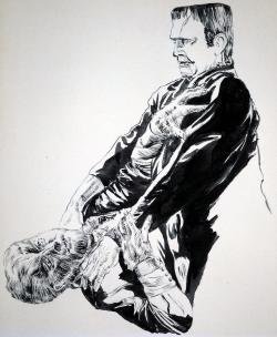Drawn wolfman black and white