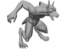 Drawn wolfman character model
