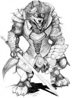 Drawn wolfman grey