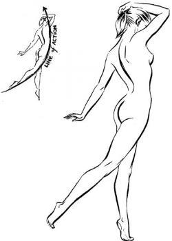 Drawn figurine woman