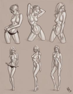 Drawn women figure study