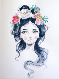 Drawn women floral crown