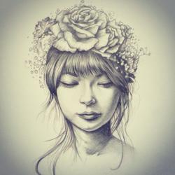 Drawn women flower crown