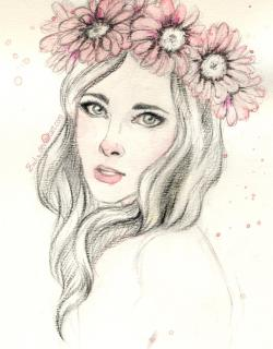 Drawn women flower headband