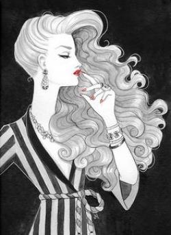 Drawn women flowing hair