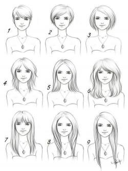 Drawn women hair