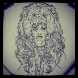 Drawn women lion
