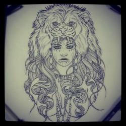 Drawn women lion