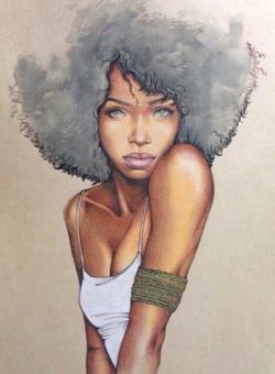 Drawn woman afro