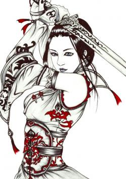 Drawn samurai female