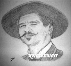 Drawn wyatt earp black and white