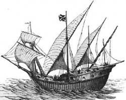 Drawn yacht caravel