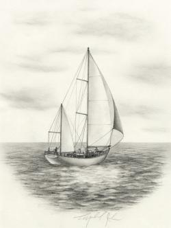 Drawn sailboat
