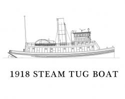 Drawn boat tugboat