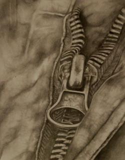 Drawn zipper realistic