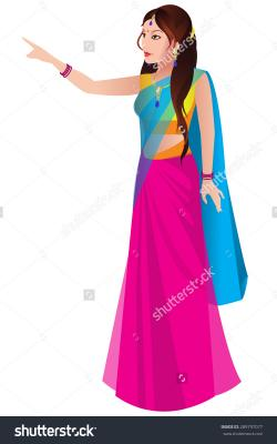 Saree clipart traditional indian lady