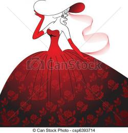Gown clipart lady in red
