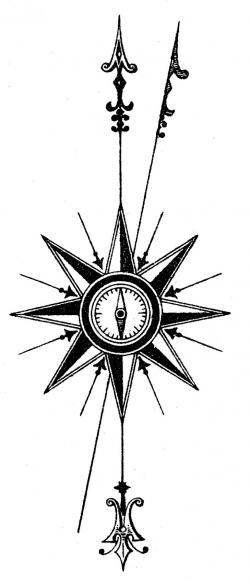 Drawn compass north point