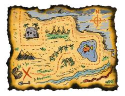 East clipart treasure map