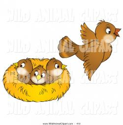 Bird's Nest clipart three bird