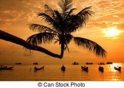 Eiland clipart beach sunset
