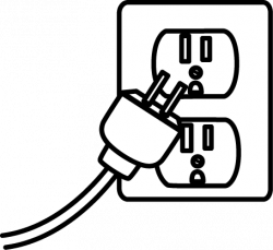 Plugged clipart black and white