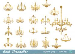 Chandelier clipart gold chandelier