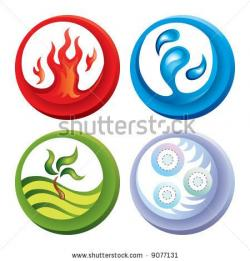 Elemental clipart fire and water