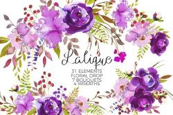 Element clipart purple watercolor floral