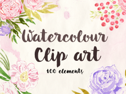 Peony clipart watercolor floral