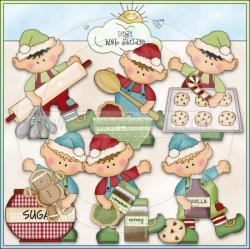 Elf clipart baking cookie