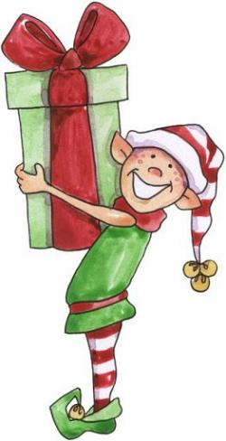 Elfen clipart holding presents