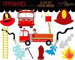 Fire Truck clipart firefighter hose