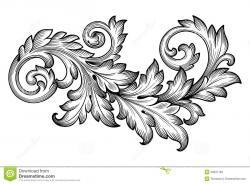 Classics clipart flower scroll