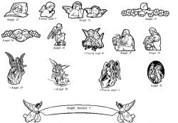 Engraving clipart angels