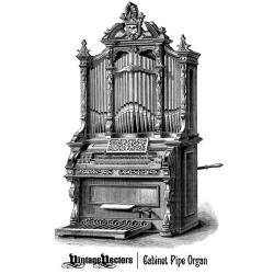 Engraving clipart church organ