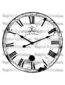 Engraving clipart clock