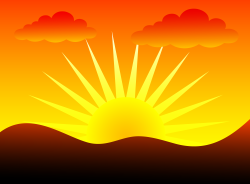 Sunbeam clipart evening sunset
