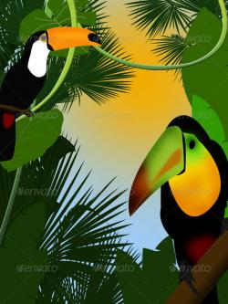 Exotic clipart forest border