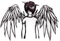 Fallen Angel clipart black and white