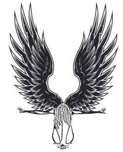 Fallen Angel clipart line art